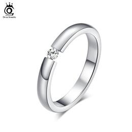 ORSA Trendy High Quality Austrian Zircon Engagement Rings High Polished Titanium Steel Wedding Rings OTR48