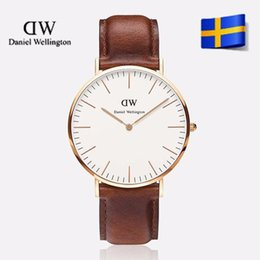 Wholesale 2 color DW Watches Luxury Gold Dial Mens mm Watches Casual Imported Quartz Movement Genuine Leather Calendar Strap Drees Watches