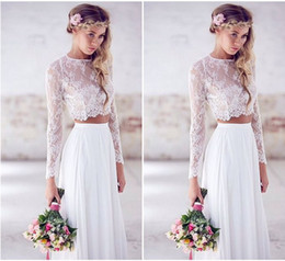 2017 Cheap Beach Wedding Dresses Long Sleeves Lace Chiffon Floor Length Custom Made Two Pieces Boho Wedding Gowns Fast Shipping