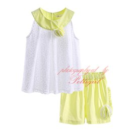 Pettigirl Fashion Flower Clothing Set for Girls 2016 Summer Sleeveless White Tops and Yellow Shorts Baby Girls Clothes DMCS81207-18L