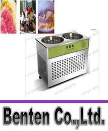Wholesale 110V V Double Pot Commercial Fried Ice Machine Single Control Single Compressor Pan Fried Ice Cream Machine LLFA232