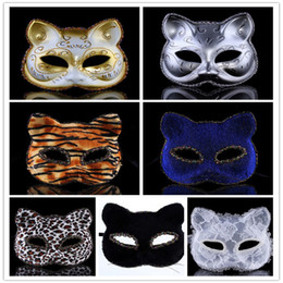 Wholesale Halloween Plastic Masks for Adult Fashion Classic Cat Face Tiger Leopard PVC Mask Half Face Lady Masquerade Cosplay Party Supplies colors