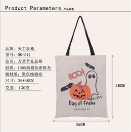 Acheter en ligne Araignées noires-Halloween à la main des sacs sac de toile de coton transport noir poignée des sacs Citrouille Hallowmas diable d'araignée cadeaux Sack bonbons sac d'épaule nouvelle