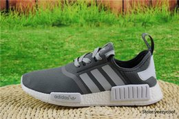 Wholesale With Box Adidas Originals NMD Runner PK Running Shoes Men Women Boost New Cheap Primeknit Sneakers Dark Grey Free Drop Shipping