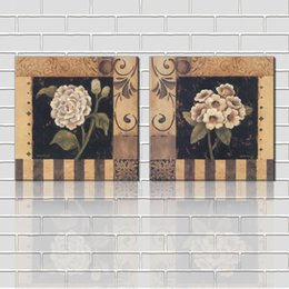 Free shipping unframed 2 Pieces picture Canvas Prints Abstract antique imitation hand painted oil painting flower leaf Chrysanthemum branch