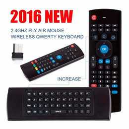 Wholesale U1 Wirless Mini Keyboard Air Mouse Remote Control G Sensing Gyroscope Sensor MIC Combo MX3 For MXQ M8S S905 Android TV BOX FREE DHL