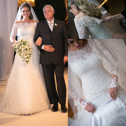 Modest White Ivory Off Shoulder Long Sleeves Lace A Line Wedding Dresses Bridal Gowns Back Zipper with Covered Button Custom Made