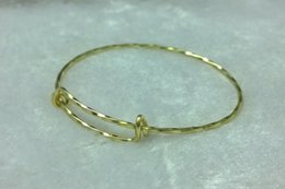 Bulk Lot Expandable Bangle Bracelet ~ Silver Plated Wire Wrapped Adjustable Single Loop Textured Golden JCT ECO®