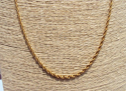 TALL 14K YELLOW GOLD GF CUBAN FRIED DOUGH TWIST CHAIN NECKLACE 88CM JEWELRY GIFT Containing about 30% or more of an alloy