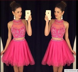 Amazing Hot Pink Two Pieces Short Homecoming Dresses 2016 Hatler Neck Beaded Ruffle Knee Length 8th Grade Graduation Dress Prom Party Gows