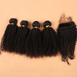 2017 peut teindre remy extensions de cheveux Extension de cheveux de Virgin Cheveux de haute qualité Fermeture 4pcs + 1pc Kinky cheveux bouclés de cheveux de Remy Peruvian cheveux humains avec la teinture de cheveux de fermeture peut être teint peut teindre remy extensions de cheveux promotion