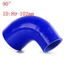 """Blue Universal ID:89mm-102mm ID:3.5""""-4"""" Silicone 90 Degree Elbow Reducer Turbo Pipe Hose Air Intake Pipe Intercooler silicone pipe Universal"""