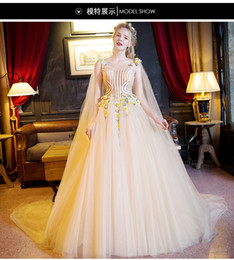 luxury light yellow flower beading shoulder trailling gown sissi princess medieval dress Renaissance Gown princess Victorian belle ball gown