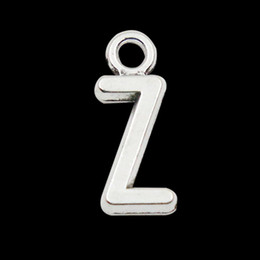 Antique Silver Plated Alloy Alphabet Z Charms Initial Letter Pendant Charms 100pcs lot AAC1198-Z