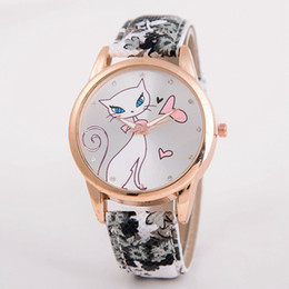 Fashion Cute Cat Dial Designer Lady Watch Brand New Print Leather Strap Wrist Quartz Watch Round Dial Casual Cartoon Watch for Woman Girls