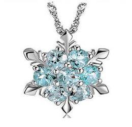 Wholesale Frozen Snow Shape Snowflake Pendant Necklace Elsa Snowflake Sterling Silver Necklace Chain Austrian Crystal Snowflake Necklace DHL