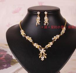 champagne crystal diamond bride wedding set necklace earings ywrwr