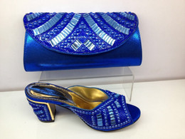 Wholesale Cherry Lady New Arrival Fashion Women High Hell Pumps with Rhinestone Bead African Shoes and Bag Set OpenToes for Party Royal Blue