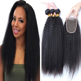 Wholesale 9A Grade Brazilian Afro Kinky Straight Hair With Closure Italian Coarse Yaki Lace Top Closure Pieces x4 With Human Hair Bundles