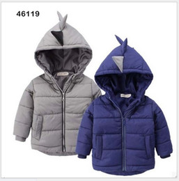 Retail Fall Winter Boys Dinosaur Modeling Warm Coat For Children Thicken Cotton Outwear Kids Korean Style Coats Boy Hooded Down Jacket Coat
