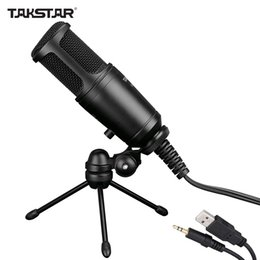 Wholesale Takstar GL FX USB Cable Wired Condenser Side address Recording Mic Microphone with Tripod Desktop Mic Stand High Quality DHL I1567