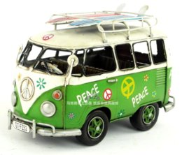 Deluxe Bus Model Cute Surfing Version Floral handmade antique vintage metal craft collection decoration gift craft cut