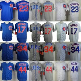 Wholesale cheap Chicago Cubs Russell Jon Lester Kris Bryant Ernie Banks Anthony Rizzo Ryne Sandberg men sports jerseys throwback shirt