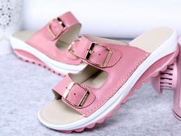 New 2016 women sandals buckle genuine leather platform shoes woman summer beach slippers women's flats wedges single shoesLady sandals