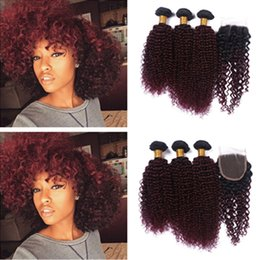 4Pcs Lot Wine Red Ombre Kinky Curly Hair Bundles With Lace Closure Burgundy #1B 99J Ombre Human Hair Bundles With Lace Closure