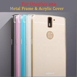 Wholesale For Oneplus One Acrylic Back Cover Aluminum Frame Set Phone Bag Cases For Oneplus one