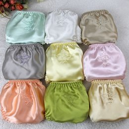 The China national silk Women Silk Satin Panties Female Floral Embroidery Underwear Ladies Knickers Pure silk Briefs