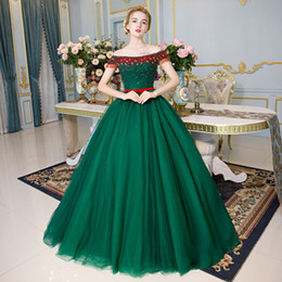 100%real green red beading crystal full luxury ball gown medieval dress Renaissance gown Sissi princess Victorian Marie Belle Ball