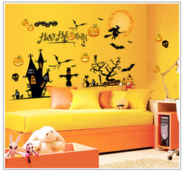 Wholesale Pubs Shop Halloween Wall Decals Decoration Stickers New Arrival Wall Stickers Home Festival Decor PVC Pumpkin Design cm