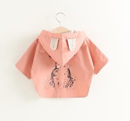 Clear Stock Girls Back Bunny Hoodie Jacket Kids Coats 2017 Spring Children Boutique Clothing Little Girls Short Sleees Outerwear