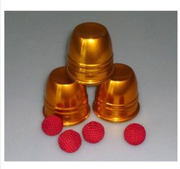 Super delux metal three cups with three balls - Gold color, most famous magic in the world, good magic trick, magic game