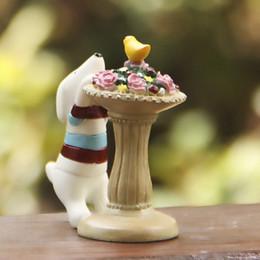 1pcs Flower Vase Dog Figurines Fairy Garden Miniatures Zakka Decor Resin Crafts Terrarium Figurines Statue Tonsai Home Accessories Toys DIY