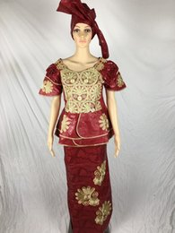 Wholesale 2016 The African Lady Dress Fashion Women Dress Bazin Riche Dashiki Traditional Cotton Materia three piece Half Sleeve