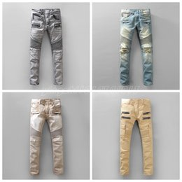 Wholesale New Italy style Mens balmain jeans Cotton Straight designer Jeans For Men Denim Bike Ripped Jeans AD Brand Big Size