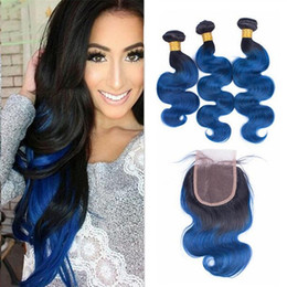 Ombre Brazilian Hair With Closure Body Wave 4Pcs Lot 3 Bundles Blue Ombre Human Hair Weave Weft Extensions With Two Tone Hair Closure