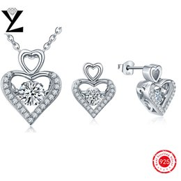 Wholesale Argent Silver Dancing AAA CZ Diamond Necklace Earrings for Lovers Wedding Bridal Jewelry Sets Heart Women Accessories DP09310D