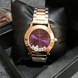 Wholesale GUOU Personalized Female Watches Diamond Flow Wristwatches With Calendar Luxury Durable Stainless Steel Strap Quartz Movement Advanced