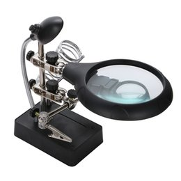 Wholesale AC DC Interchangeable LED Auxiliary Clip Magnifier Lens Soldering Iron Stand Station DIY Tool