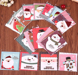 Greeting Cards Merry Christmas Day Deer Snowman Holiday Greeting Thanksgiving New Year Paper gift cards party festive supplies