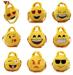 Wholesale Emoji Plush Bags Cartoon kids bag cm Children handbags Cute Emoji Smiley bag Round emoji Snack bags Emoji Plush Toys Xmas gift D450