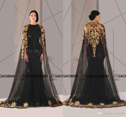 Wholesale 2017 Fashion Black Arabic Dubai Long Prom Dress with Shawl O neck gold Appliques Lace Women Pageant evening Dresses For Formal Party