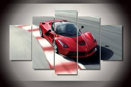 Wholesale 5pcs con enmarcada Impreso Pintura roja de coche deportivo en la habitación de la lona de decoración para imprimir la imagen del cartel de la lona enmarcada en el arte los
