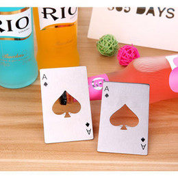 Wholesale 2016 new fashion Cap Opener Ace of Spades Beer Bottle Tool Player creative special unique design