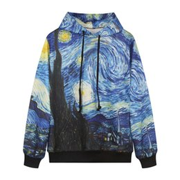Wholesale Cool Winter Jackets Women - New fashion Cool Funny Men Women Fall Winter Casual Hoodies with Cap Sports Tracksuits Print Colorful Galaxy Sweatshirts Street Wear Jacket