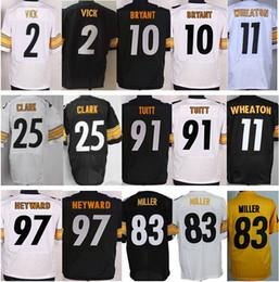 Wholesale 2 Michael Vick Martavis Bryant James Harrison Jarvis Jones Markus Wheaton Black White New Football Jerseys