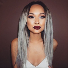 Grade 8A 100% Brazilian Grey Ombre Full Lace Wig Human Natural Hair Glueless Grey Silver Ombre Straight Lace Front Wigs